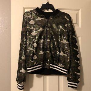 6e3b18c56e603 Topshop Jackets & Coats | Camo Sequin Bomber Jacket | Poshmark